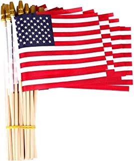 PETDUDE Small American Flags 5x8 Inch/Small US Flags/Mini American Flag on Stick/American Hand Held Stick Flags Spear Top (50 Pack)