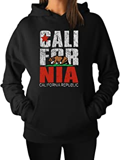 Tstars California Republic Hoodie for Women Retro California Flag Pullover