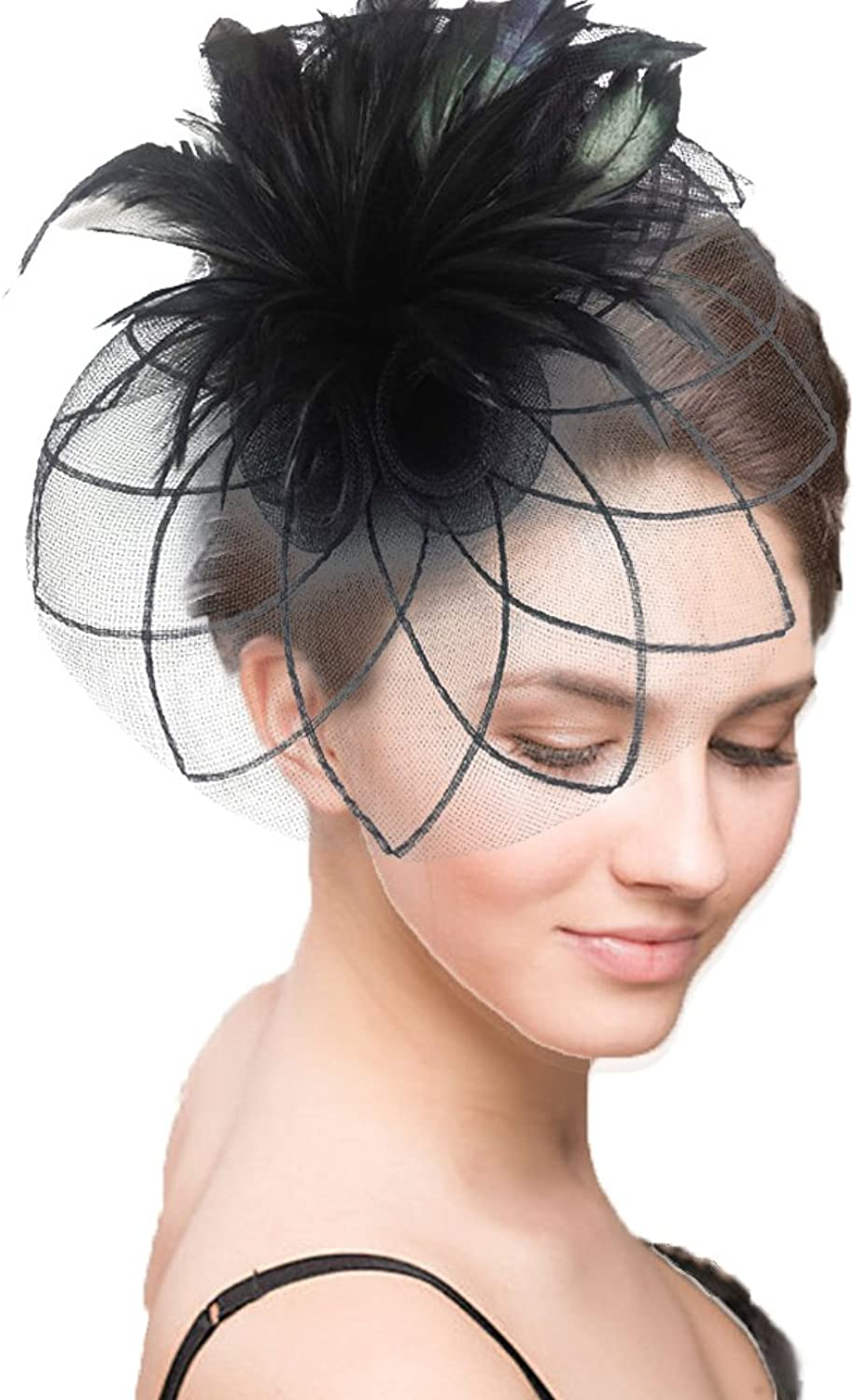 Vivivalue Women Veil Net Fascinator Flower Hats Fascinator Felt Mesh Feather Hair Clip