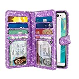 FINCIBO Case Compatible with Sony Xperia XA Ultra 6 inch, Sparkling Glitter Dual Wallet Folio TPU Cover 2 Pockets Double Flap Multi Card Slots Snap Button Strap for Xperia XA Ultra - Light Purple
