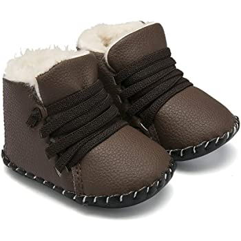 Cindear Infant Boys Girls Soft Sole Anti-Slip PU Leather Shoes Newborn Baby Crib Shoes Sneakers