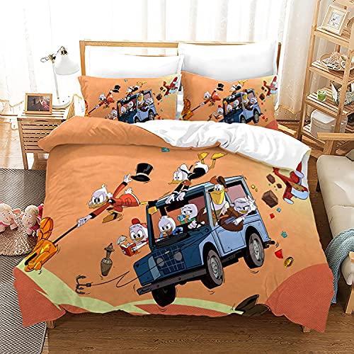 AZJMPKS Funda nórdica y fundas de almohada de Donald Duck, microfibra, impresión digital 3D, para niños, diseño de dibujos animados (A14,155 x 220 cm + 80 x 80 cm x 2)