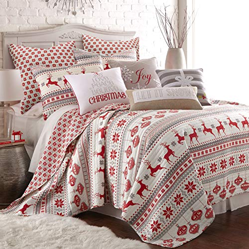 Levtex Home - Silent Night Quilt Set - Full/Queen Quilt + Two Standard Pillow Shams - Fair Isle Deer - Red, Grey, White - Quilt Size (88x92in.) and Pillow Sham Size (26x20in.) - Reversible - Cotton