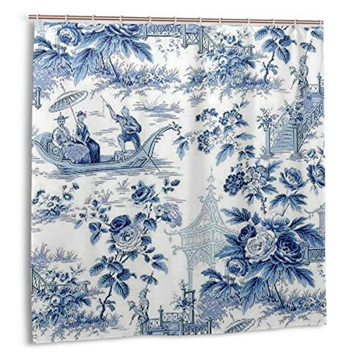 Shower Curtain Chinese Style Powder Blue Chinoiserie Toile Waterproof Shower Curtains Decor Set 72 X 72 Inch