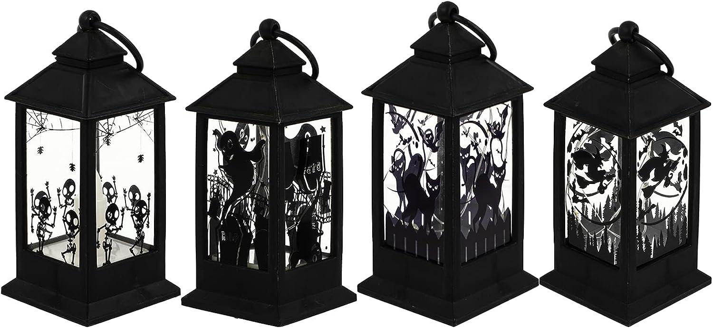 PRETYZOOM 4Pcs LED Industry No. 1 Vintage Light Halloween Long Beach Mall Lantern