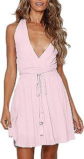 d405660fefe3 Womens Sleeveless Ladies Deep V-Neck Solid Stretchy Waisted Backless  Bandage Mini Retro Dress &