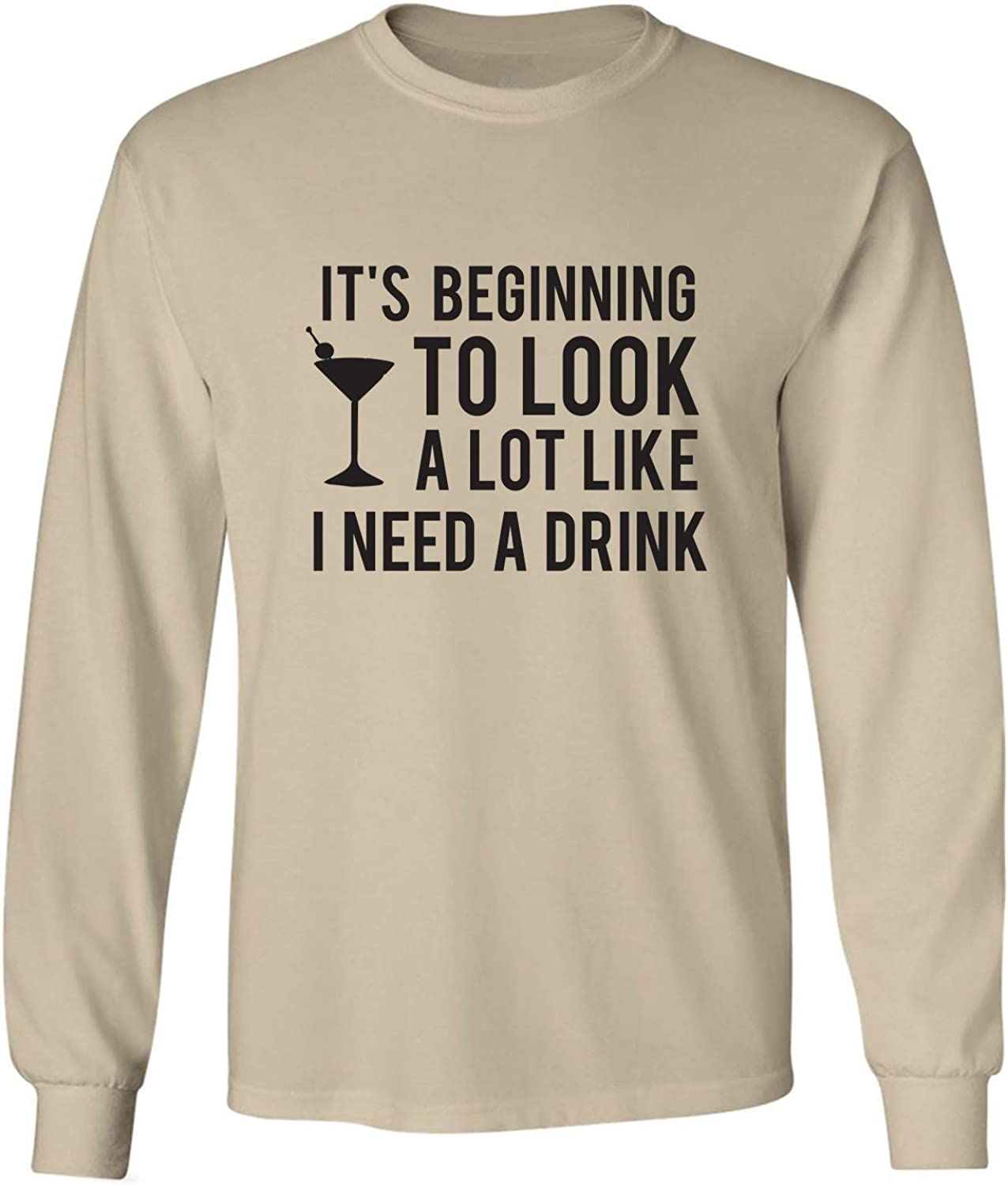 It's Beginning to Look A Lot Like Adult Long Sleeve T-Shirt in Sand - XXXX-Large
