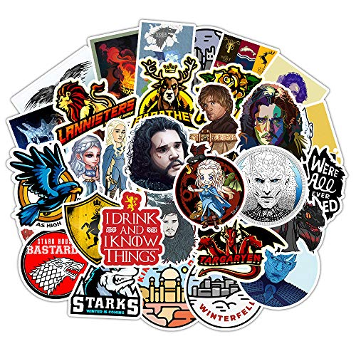 Game of_Throne Waterproof Stickers of 50 Vinyl Decal Merchandise Laptop Stickers for Laptops, Computers, Hydro Flasks, Skateboard and Travel Case