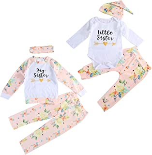 Infant Toddler Girls Matching Outfits Sisters Tops Pants Headband/Hat Set