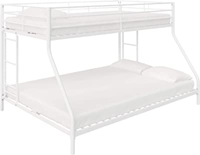 DHP Junior Small Space Bunk Bed for Kids, Twin/Full, White