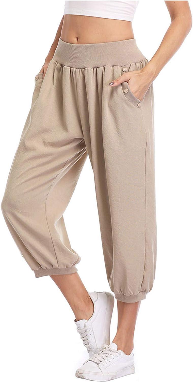 Dilgul Women's Loose Fit Capris Harem Crop Pants Joggers Sweatpants Casual Lounge Pants Plus Size Pants XS-4XL with Pockets