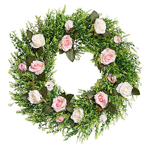 22 inch Spring Flower Wreath Artificial Fresh Green Rose Flower Wreath for Front Door for Years Pink Artificial Flower Hanger Indoor Natural Vine Wreath Home Decor for Window, Outdoor, Wedding