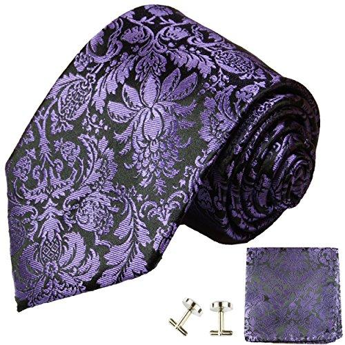 Cravate violet noir ensemble de cravate 3 Pièces (100% Soie Cravate + Mouchoir + Boutons de manchette)