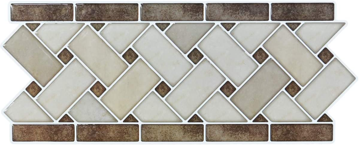 Amazon Com Peel And Stick Backsplash Decortaive Tile Stickers Waist Line Retro Mosaic Wall Sticker Kitchen Cabinet Toilet Border 12 4x5 Inches 10 Sheets Kitchen Dining