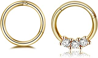 Changgaijewelry 2Pcs 16g Stainless Steel Hinged Nose Rings Cartilage Sleeper Tragus Piercing Hoop Earrings Gold CZ 8mm