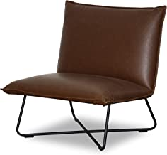 Maison Est Felix Chair | Contemporary Occasional Chair with Faux Leather Covers and Steel Base