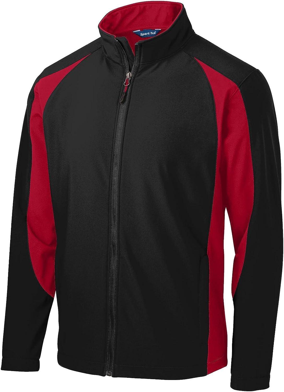 Sport-Tek Mens Colorblock Soft Shell Red Max 55% OFF San Jose Mall Black Jacket XS True