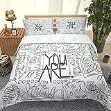 ZJJXM Set Bedcloth con La Funda De Almohada,1 Funda Nórdica Y 2 Fundas Almohada,Alfabeto Patrón Simple(230X220Cm),Ropa De Cama La Ropa De Cama Transpirable Y Suavetextiles For El Hogar.(Rey)