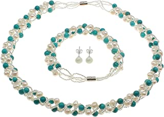 Gorgeous Glass Pearl and Diamante Flower Pendant Necklace Bracelet and Drop Earring Jewellery Set Womens Gift