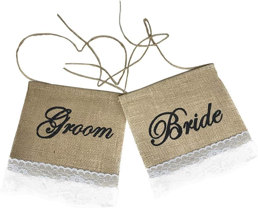 NOVELTY GIANT WWW.NOVELTYGIANT.COM Rustic Wedding Bride & Groom Chair Signs Burlap Banners
