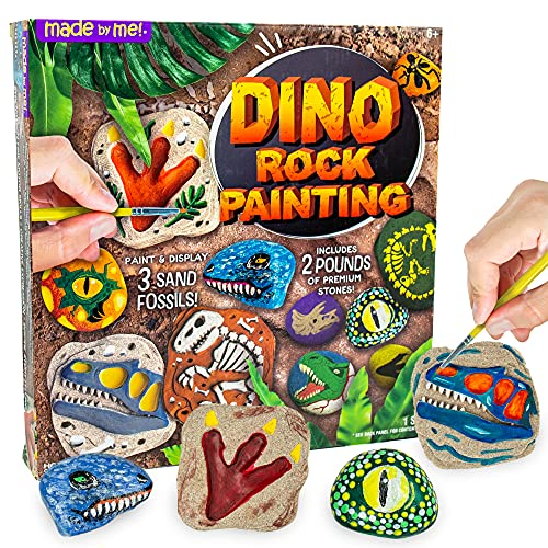 Made By Me Dino Rock Painting by Horizon Group USA, Paint & Display 3 Sand Fossils, Create Your Own Dinosaur Rock Art, Includes 2 lbs Premium Stones, 2 Acrylic Paint Strips, Temporary Tattoos & More