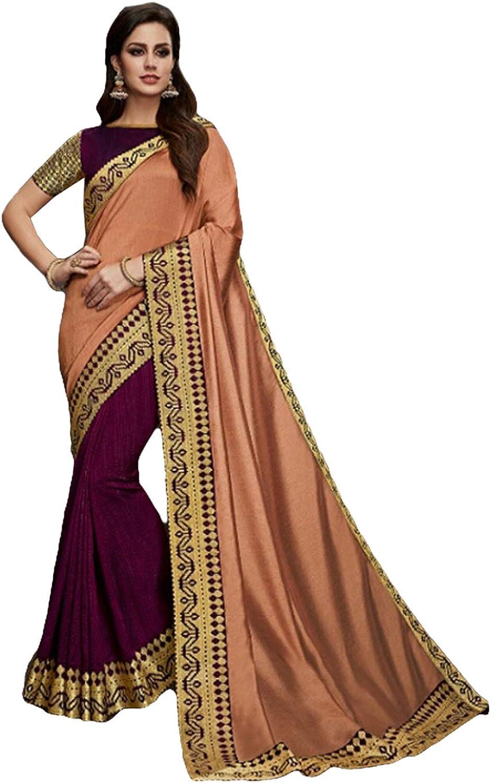 DesiButik's Party Wear Graceful Peach And Wine Satin Silk Saree