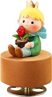 الأمير الصغير للساعة تناوب قاعدة مستديرة خشبية صندوق موسيقى الحرف هدية اكسسوارات ديكور المنزل