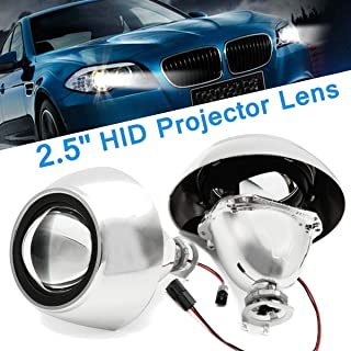 2Pcs 2.5 Inch Universal Car Motorcycle Bi-Xenon Hid Headlight Projector Lens Retrofit Right Drive H/L Beam
