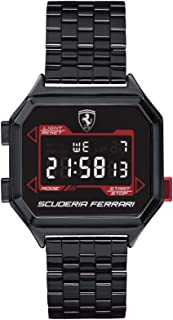 Ferrari Men's Digidrive Quartz Watch with Ionic Plated Black Steel Strap, 18 (Model: 0830704)