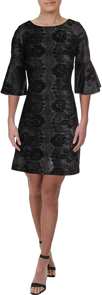 Gabby Skye Women's 3 4 Bell National products Sleeve Boston Mall D Lace Neck Fit Round Flare