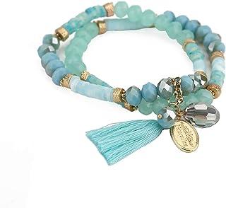 Niumike Hand-Made 2 Rows Crystal Strand Bracelets,Stretch Beaded Charm Tassel Bracelet