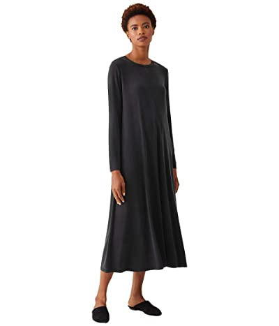 Eileen Fisher Crew Neck Full-Length Dress (Black) Women