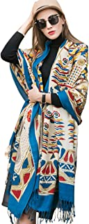 DANA XU Pure Wool Ponchos Blanket for Women Large Pashmina Shawls and Wraps