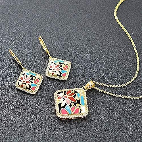 NC190 Collar Cuadrado de Moda Conjuntos de Joyas para Mujer Pendientes Colgante de circonita cúbica Collar Esmalte Celebración de Aniversario Collar de joyería Longitud 45cm