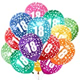 Globo Número 18, Cumpleaños Globos 18 Años, 18 Cumpleaños Decoración Globos Niño,Colores Globos Numeros 18 Fiesta Decoración para Feliz Cumpleaños,30 cm-Paquete de 30