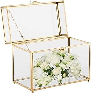 HighFree Handmade Glass Card Box Large Gold Rectangle Shape Geometric Terrarium Clear Glass Plant Terrariums for Wedding Reception, Wishwell, Keepsake and Home Décor