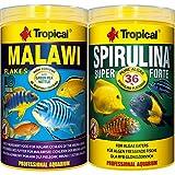 Tropical 1 Liter Spirulina Forte 36% + 1 Liter Malawi Flocken Doppelpack 2 er Set Cichlid Malawi Fischfutter