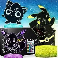 XKUN ポケモンピカチュウ、ステッチとドラえもん3D常夜灯、目の錯覚ギフト、16色の変更とリモコン付き、3 4 56歳以上の子供向けギフト,W5