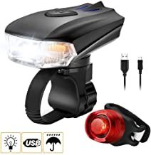 Bicycle Light Set Bike Head Light & Taillight Set, Waterproof Front Rear Light Sets, Headlight & Tail Light for Mountain Bicycle MTB BMX Road Cycling Camping Outdoor Sports (USB Rechargeable, Black)