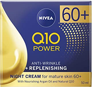 NIVEA Q10 Mature Anti-Wrinkle + Replenishing Night Cream Moisturiser for Mature Skin with Argan Oil & Natural Q10, 50 ml