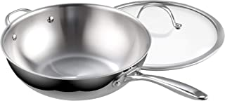 Cooks Standard 02595 Clad Stainless Steel Stir Fry Pan with Glass Lid 12-Inch Multi-Ply Wok, Silver