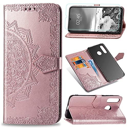 Abuenora Funda para Huawei P30 Lite + Protector de Pantalla Cristal Templado, Carcasa Libro con Tapa Flip Case Antigolpes Golpes Cartera PU Cuero Suave Soporte - Mandala Oro Rosa
