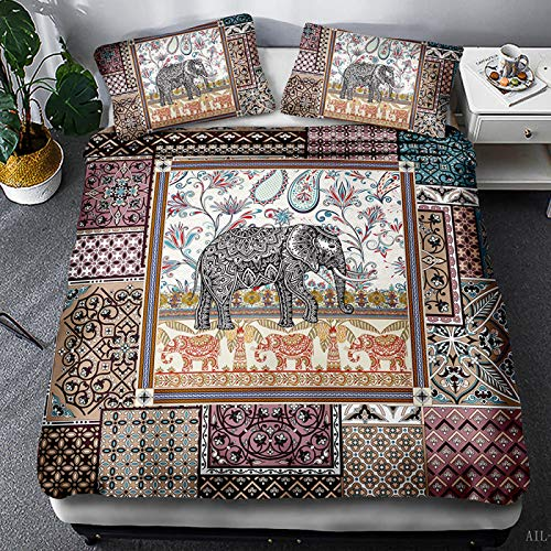 QXbecky Bohemian Ethnic Elephant Bedding Soft Microfiber Quilt Cover Pillowcase 2, 3-Piece Set of Twin beds