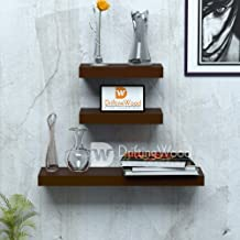 Driftingwood Wall Shelves Floating Wall Racks Set of 3 Shelves (24X7In 12X7In 12X7In) - Brown
