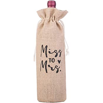 Printed Bottle Gift Bag With Rope Drawstring Wedding Vintage Décor Mr /& Mrs