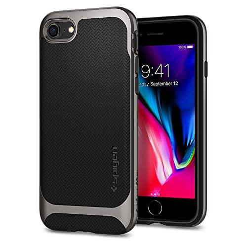 iPhone 8 Case, iPhone 7 Case, Spigen® [Neo Hybrid Herringbone] iPhone 7 Case Cover with Flexible Inner Protection and Reinforced Hard Bumper Frame for iPhone 7 (2016) / iPhone 8 (2017) - Gunmetal