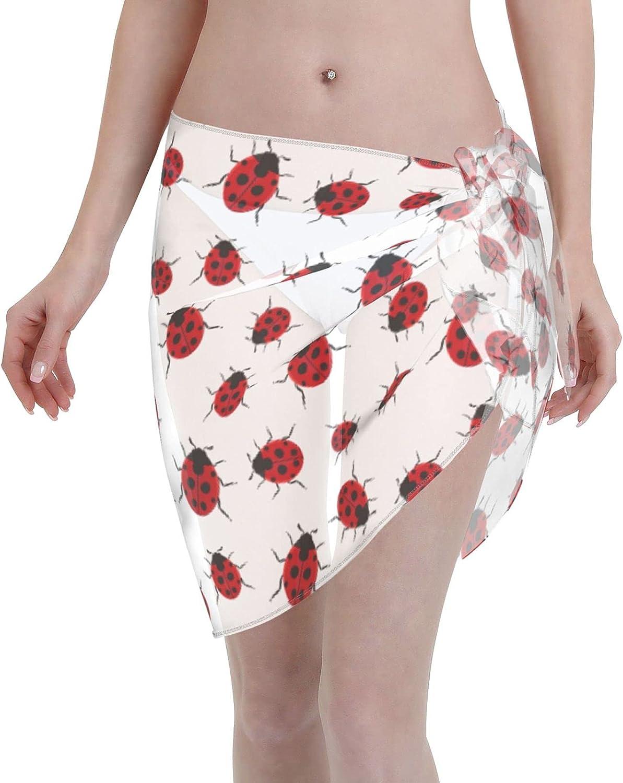 YFIohd Ladybug Pattern Women Sarong Beach Wrap Sheer Short Bikini Wraps Chiffon Cover Ups Swimwear Skirts Black