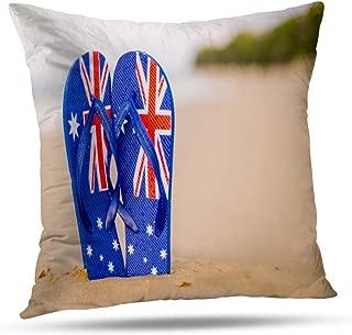 Alricc Shallow Field Australian Flag Flip Flops Washed Sandy Beach Australia Decorative Throw Pillows Cushion Cover for Bedroom Sofa Living Room 20 x 20 Inch