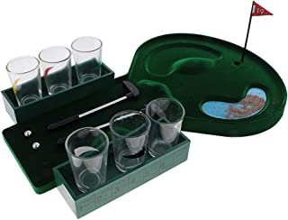 SODIAL Novelty 1 Set Mini Table Golf Drinking Game Set with Shot Glasses for Family Party Cafe Bar Club Wine Game Gift Green