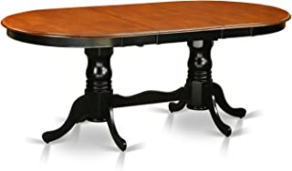 East West Furniture Table with 18-Inch Butterfly Leaf, Black/Cherry Finish